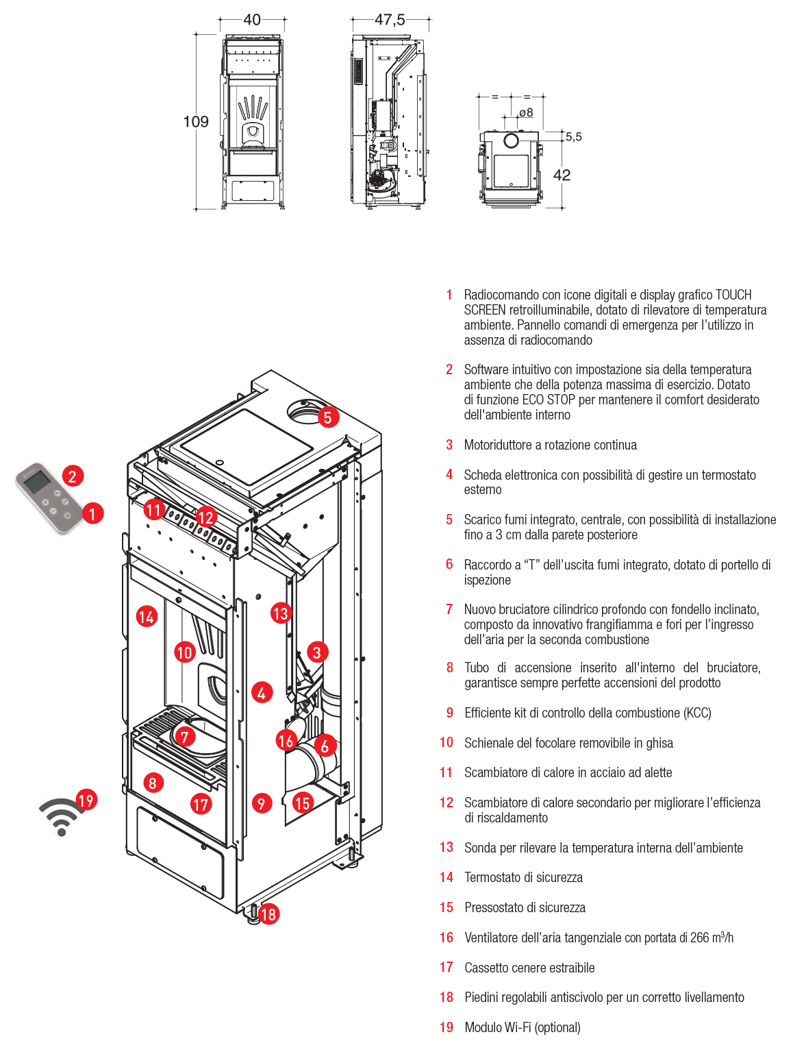 pellet stove with a system of forced convection integrated smoke outlet