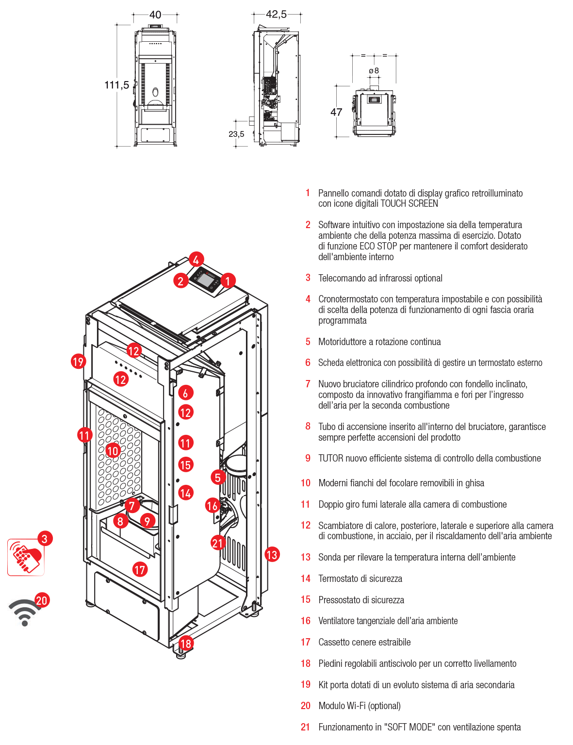 pellet stove with a system of forced convection
