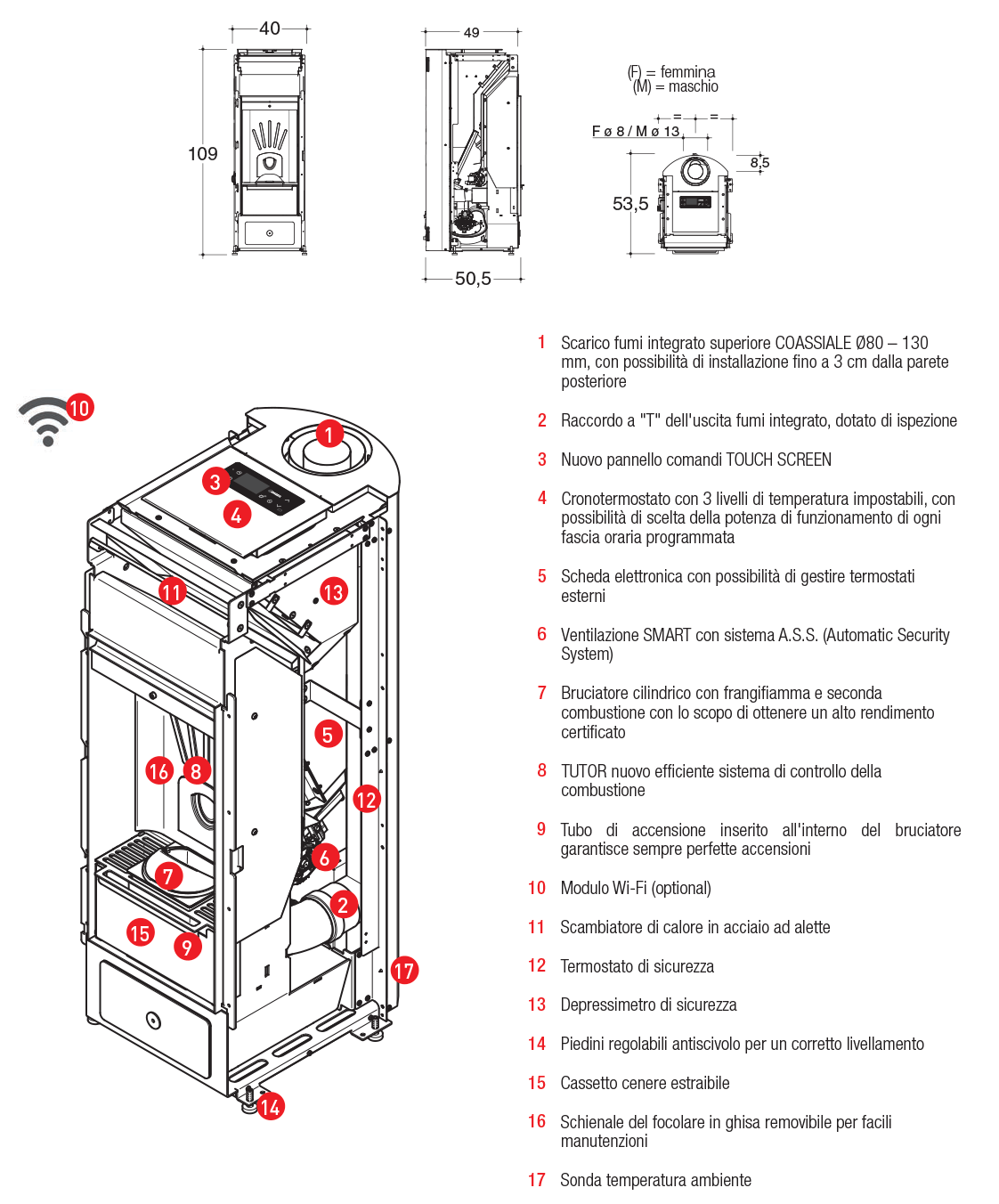 airtight pellet stove with forced convection and built-in upper coaxial flue spigot